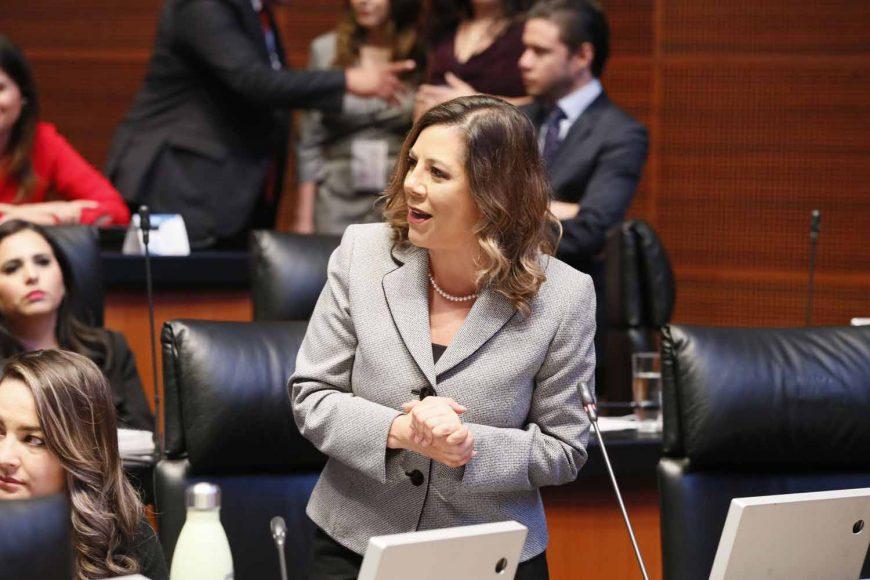 Senadora Gina Cruz Blackledge al participar desde su escaño