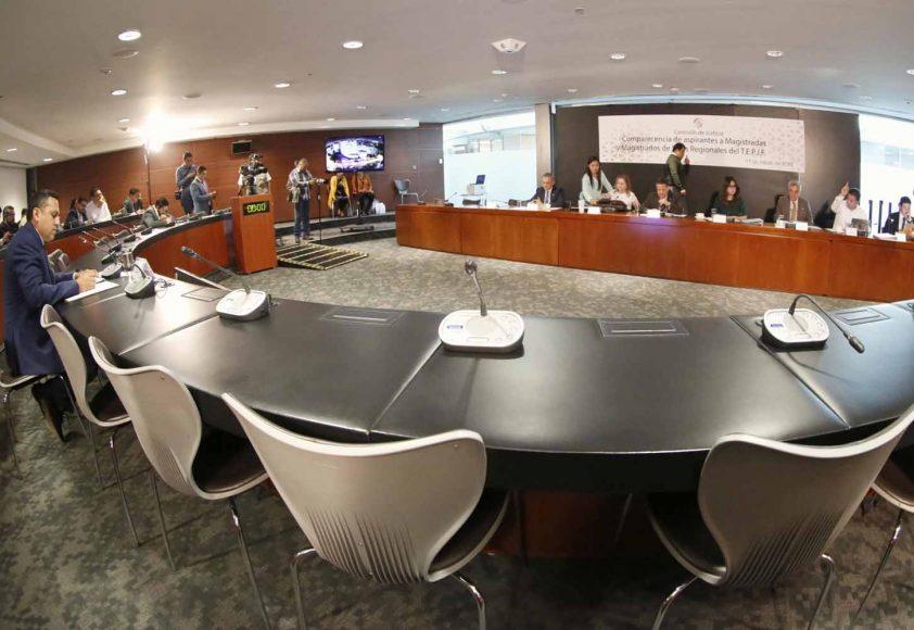 La senadora Indira Rosales San Román y el senador Damián Zepeda Vidales, durante su participación en la comparecencia de aspirantes a Magistradas y Magistrados de Salas Regionales del T.E.P.J.F.