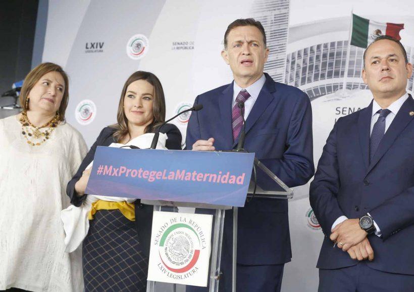 Conferencia de prensa concedida por los senadores del PAN Mauricio Kuri González, coordinador del Grupo Parlamentario; Martha Cecilia Márquez Alvarado; y Erandi Bermúdez Méndez