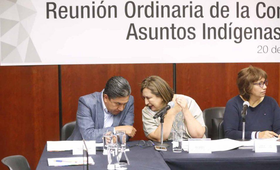 La senadora Xóchitl Gálvez Ruiz y el senador Marco Gama Basarte, durante la reunión de trabajo de la Comisión de Asuntos Indígenas.