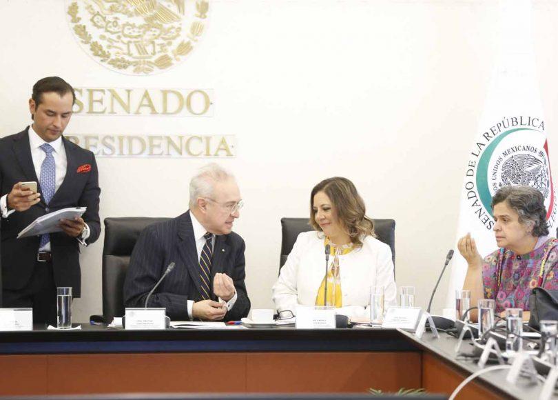Senadora Gina Andrea Cruz Blackledge, al inicio de la reunión de comisiones unidas de Relaciones Exteriores y de Relaciones Exteriores América del Norte, donde se desahogan comparecencias de ciudadanas y ciudadanos designados por el titular del Ejecutivo federal como cónsules generales en los Estados Unidos.