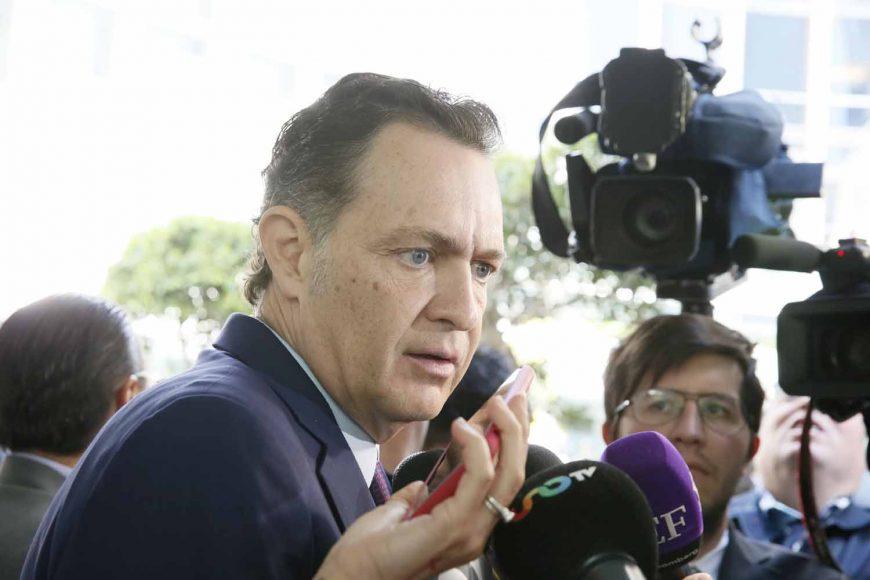 Senador Mauricio Kuri González, al ser entrevistado previo al inicio de la sesión ordinaria