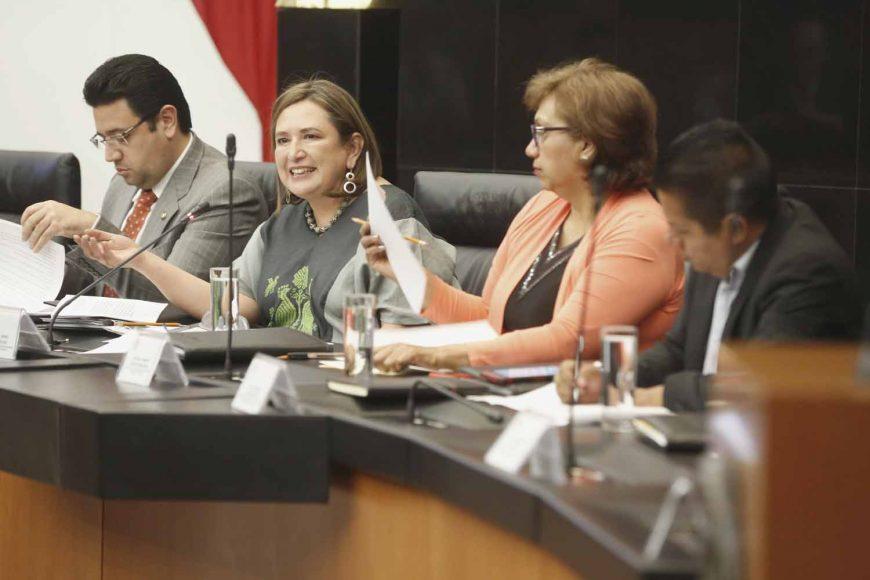 Senadora Xóchitl Gálvez Ruiz, durante la reunión de trabajo de la Comisión de Asuntos Indígenas