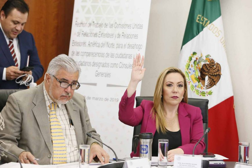 La senadora Alejandra Reynoso Sánchez, durante las comparecencias de los ciudadanos designados como cónsules generales, ante las comisiones unidas de Relaciones Exteriores y de Relaciones Exteriores, América del Norte.