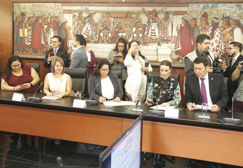 Senadora Minerva Hernández Ramos, al participar en la reunión de la Comisión de Economía.