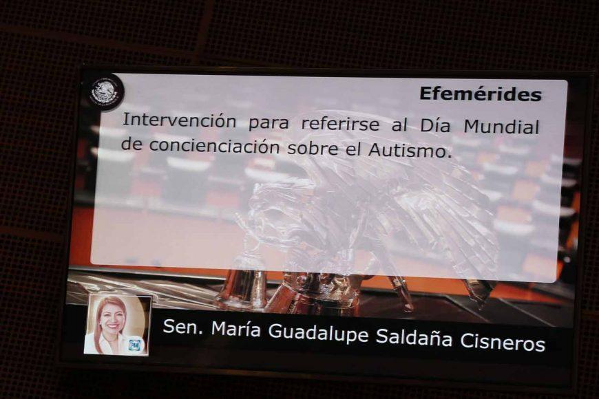 Intervención de la senadora María Guadalupe Saldaña Cisneros, al referirse al Día Mundial de Concienciación sobre el Autismo.