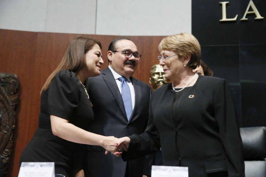 Sesión Solemne por la visita de señora Michelle Bachelet, Alta Comisionada de las Naciones Unidas para los Derechos Humanos, en la que participaron  Guadalupe Murguía Gutiérrez, Vicepresidenta del Senado, y Guadalupe Saldaña Cisneros, Secretaria de la Mesa Directiva, así como la senadora Kenia López Rabadán, Presidenta de la Comisión de Derechos Humanos.