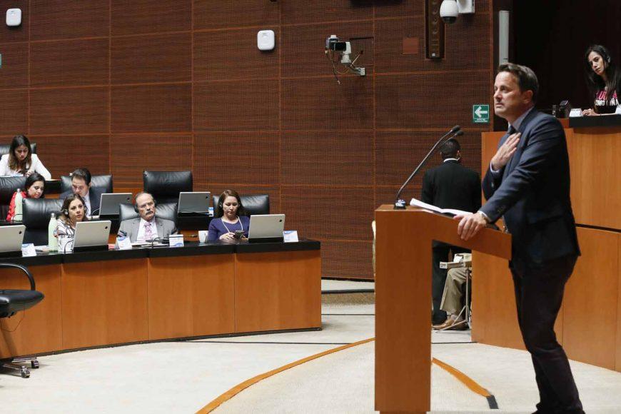 Los senadores del PAN durante la visita del Primer Ministro del Gran Ducado de Luxemburgo, Xavier Bettel.