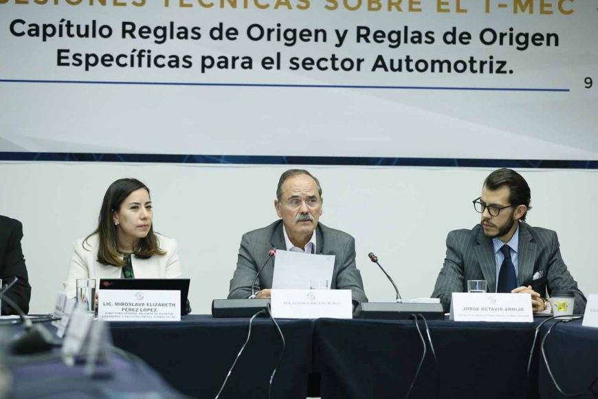 Senador Gustavo Madero Muñoz, durante su participación en las sesiones técnicas sobre el T–MEC: Capítulo Reglas de Origen y Reglas de Origen Específicas para el sector automotriz.