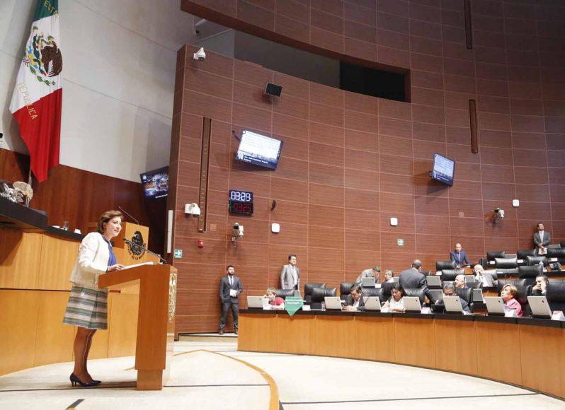 Intervención en tribuna de la senadora María Guadalupe Murguía Gutiérrez, al presentar iniciativa con proyecto de decreto que reforma los artículos 94, noveno párrafo; y adiciona un cuarto párrafo a la fracción I del artículo 105 de la Constitución Política de los Estados Unidos Mexicanos.