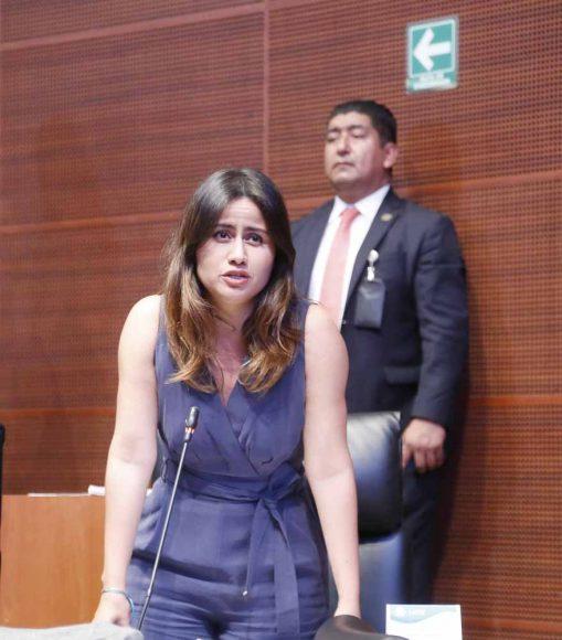 Intervención desde su escaño de la senadora Indira Rosales San Román para pedir un minuto de silencio por las personas asesinadas en Minatitlán, Veracruz.