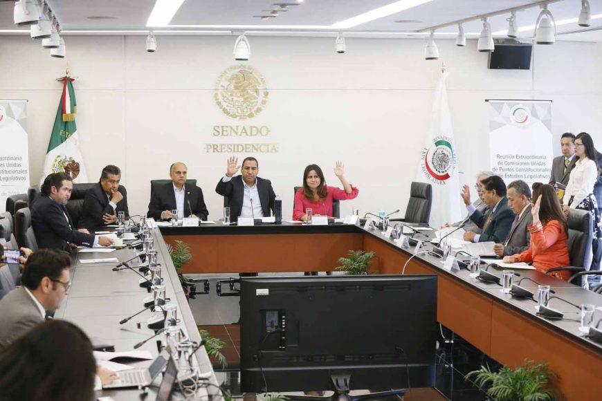 La senadora Indira Rosales San Román, durante las comisiones unidas de Puntos Constitucionales y de Estudios Legislativos.