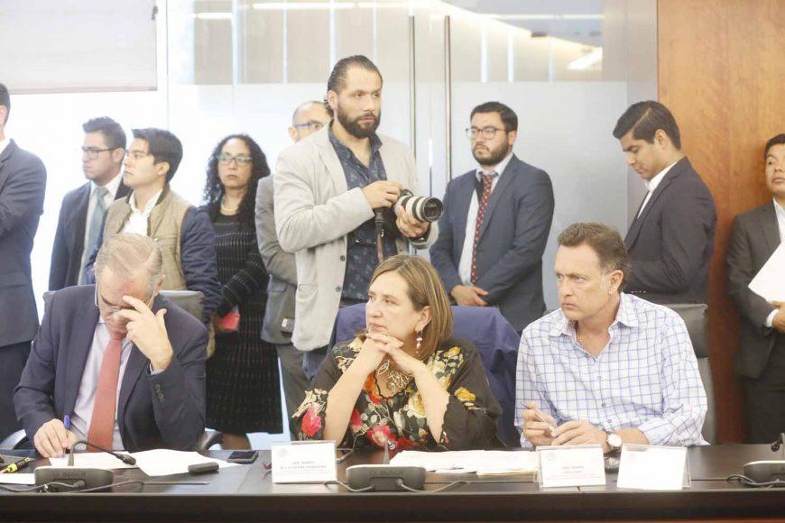 Senador Mauricio Kuri González, Coordinador del PAN, durante la reunión de trabajo de la Comisión de Trabajo y Previsión Social y de Estudios Legislativos Segunda.