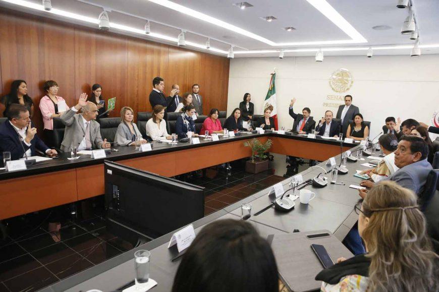 Participación de las senadoras del PAN Minerva Hernández Ramos, Josefina Vázquez Mota y el presidente de la Comisión de Economía, Gustavo Madero Muñoz, durante la reunión de comisiones unidas.