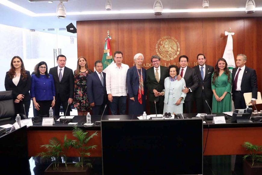El Coordinador de las y los senadores del PAN, Mauricio Kuri González, durante la reunión que sostuvieron los integrantes de la Mesa Directiva del Senado, con la directora gerente del Fondo Monetario Internacional, Christine Lagarde