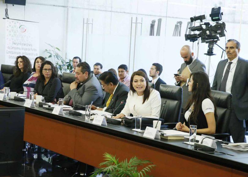 Intervención de la senadora Guadalupe Saldaña Cisneros durante la reunión de trabajo de comisiones unidas de Puntos Constitucionales, Educación y de Estudios Legislativos Segunda