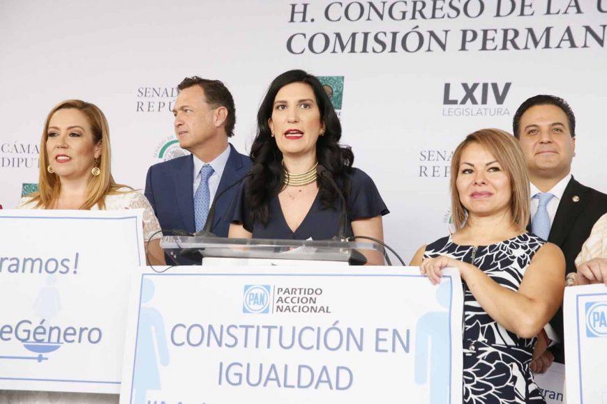 Conferencia de prensa concedida por las senadoras y  senadores del GPPAN. #ParidadDeGénero, Igualdad, MitadDeCargosPublicos