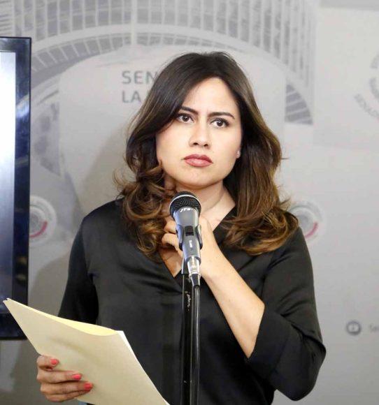 Conferencia de prensa ofrecida por la senadora panista Indira de Jesús Rosales San Román.