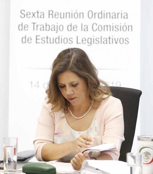 Senadora Gina Cruz Blackledge, al participar en la reunión de trabajo de la Comisión de Estudios Legislativos.