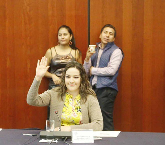 La senadora del PAN Martha Márquez Alvarado, durante la reunión de trabajo de la Comisión de Juventud y Deporte.