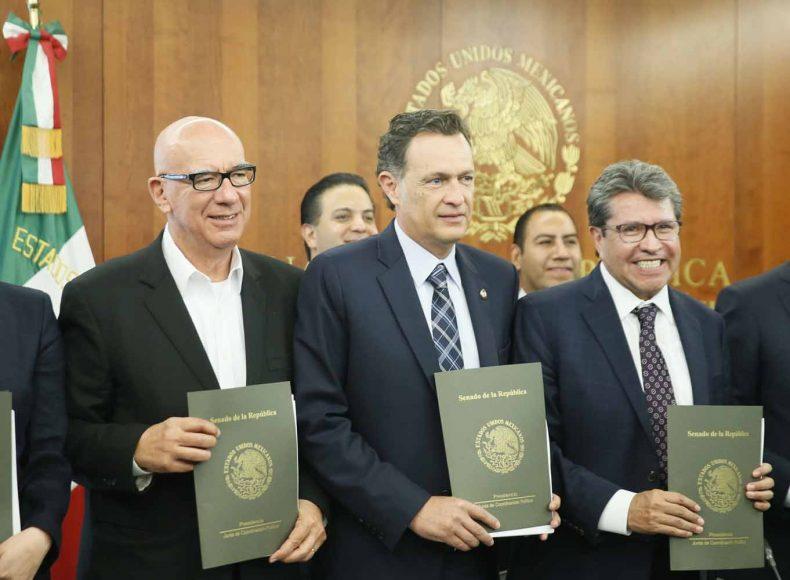 Intervención del Coordinador de las y los senadores del Partido Acción Nacional, Mauricio Kuri González, durante la conferencia de prensa concedida por los coordinadores de los grupos parlamentarios en la Junta de Coordinación Política sobre las leyes reglamentarias de la Guardia Nacional.