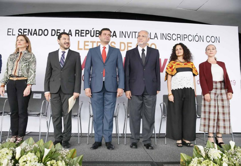 """Participación de la senadora Gloria Núñez Sánchez, durante la develación en letras de oro del nombre de Amado Nervo """"Poeta de la Nación""""."""