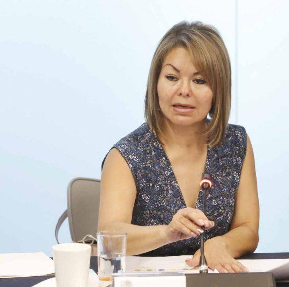 Senadora Minerva Hernández Ramos durante la Junta para la Mejora Continua de la Educación, ante la Comisión de Educación.
