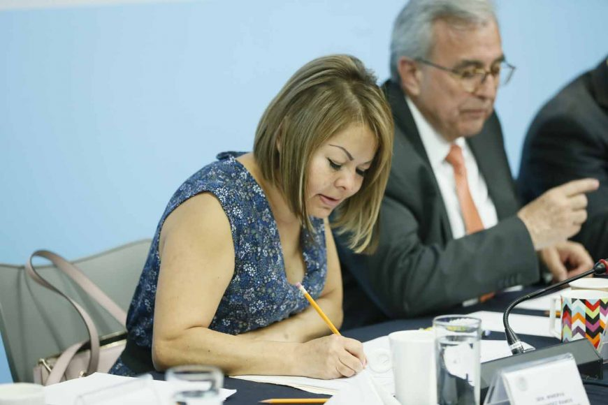 Senadora Minerva Hernández Ramos al intervenir en Comparecencia de los Candidatos a la Junta Directiva del Organismo para la Mejora Continua de la Educación