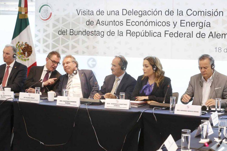 Senador Gustavo Madero Muñoz ante la visita de una Delegación de Asuntos Económicos y Energía del Bundestag de la República Federal Alemana.