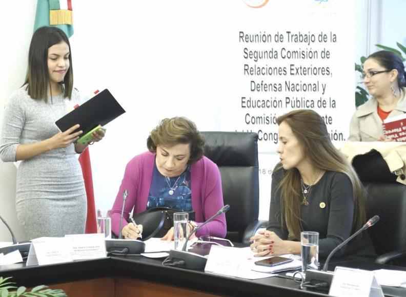 Senadora Guadalupe Murguía Gutiérrez, durante la reunión de trabajo de la 2da. Comisión de Relaciones Exteriores.