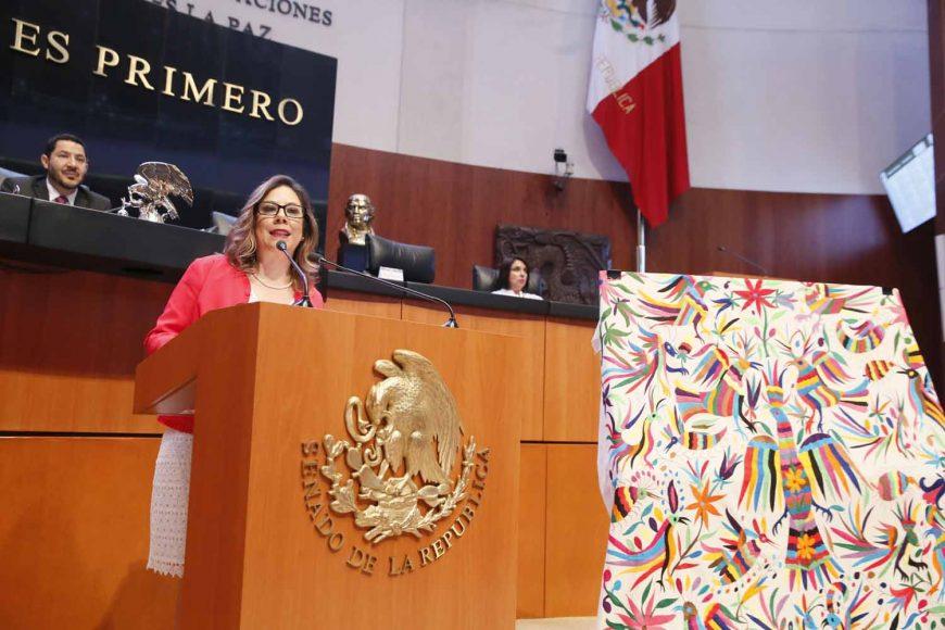 Senadora Gina Andrea Cruz al intervenir en tribuna