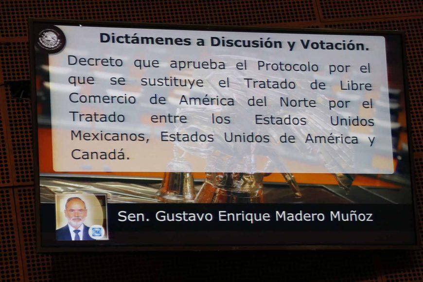 Senador Gustavo Madero Muñoz presenta posicionamiento del PAN en relación a la aprobación del T-MEC