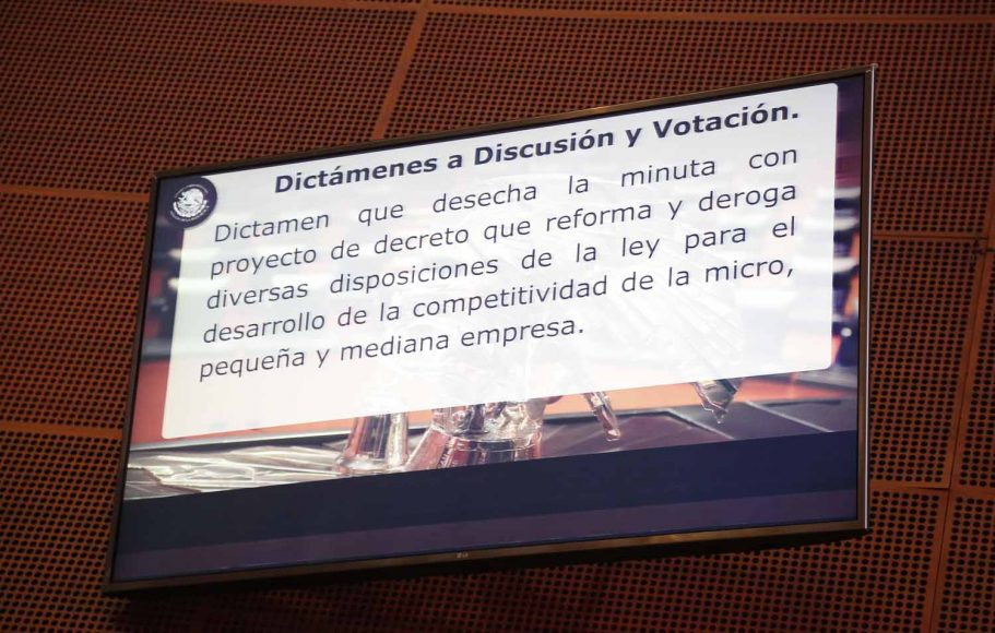 Votación por la que se desecha la minuta que reformaba la Ley para el Desarrollo de la Competitividad para la Micro, Pequeña y Mediana Empresa.