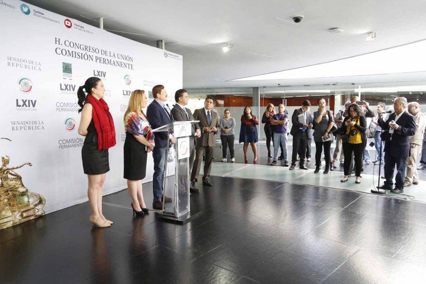 Senador Damián Zepeda Vidales participa en conferencia de prensa conjunta con diputados del PAN, previo al inicio de la Sesión de la Comisión Permanente.