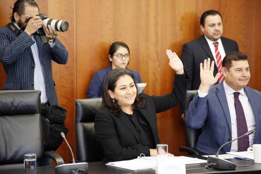 Senadora Nadia Navarro Acevedo, durante la cuarta reunión ordinaria de trabajo de la Comisión de Relaciones Exteriores.