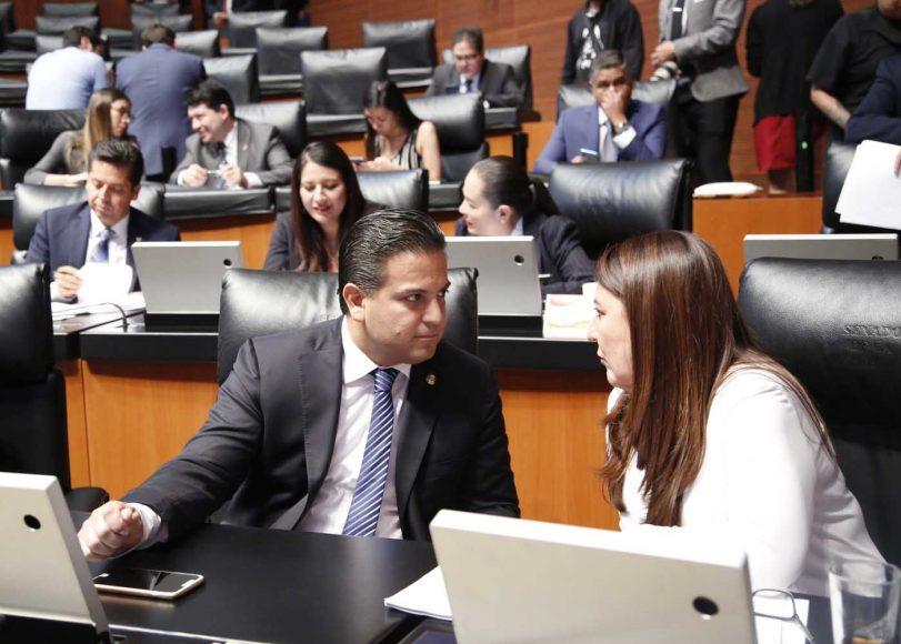 Senadores del PAN durante la sesión permanente
