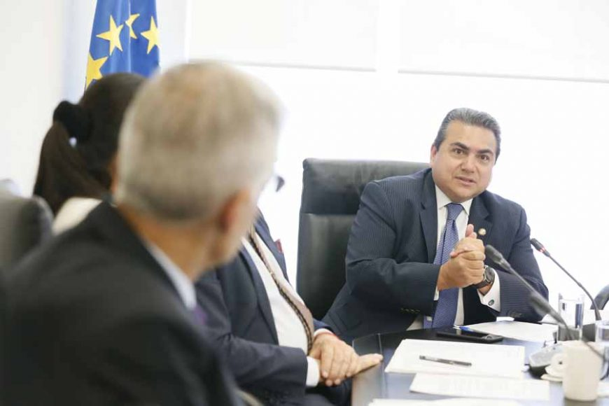 Senador Roberto Moya en reunión de la Comisión de Relaciones Exteriores Europa