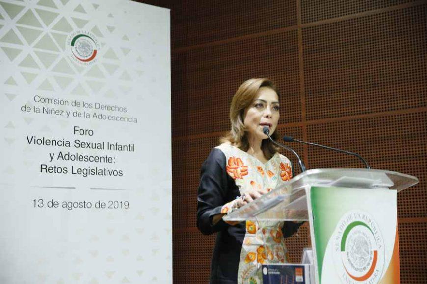 """Senadora Josefina Vázquez Mota durante la inauguración del Foro """"Violencia Sexual Infantil y Adolescente: Retos Legislativos"""""""