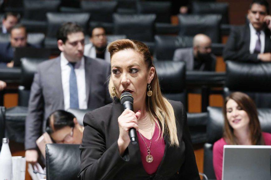 Senadoras y senadores del Partido Acción Nacional, durante la sesión ordinaria de la Comisión Permanente.