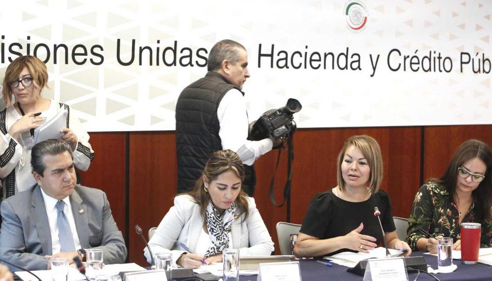 Senadora Minerva Hernández Ramos en reunión de las Comisiones de Hacienda y Crédito Público, y de Justicia.