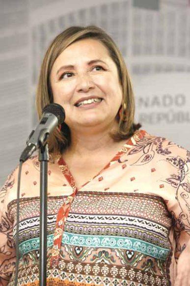 Senadora del PAN, Xóchitl Gálvez, durante conferencia de prensa.