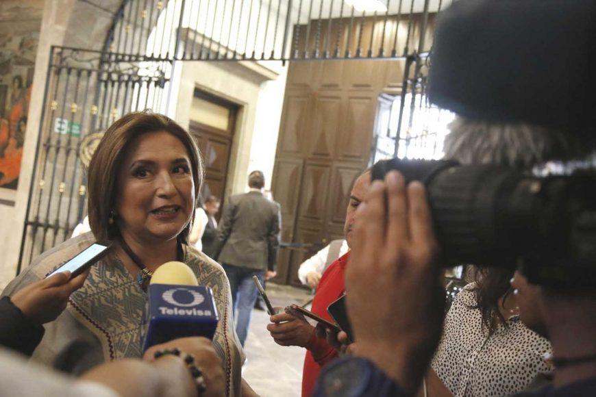 La senadora Xóchitl Gálvez Ruiz, al presentar su Primer Informe de actividades legislativas.