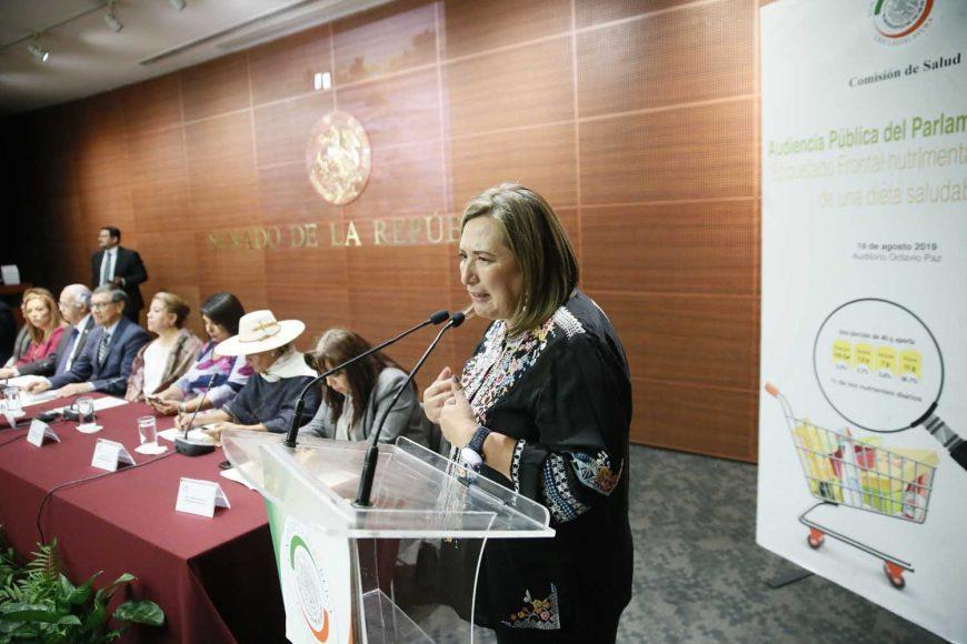 """Senadora Xóchitl Gálvez al intervenir en Audiencia Pública del Parlamento Abierto en materia de: """"Etiquetado Frontal Nutrimental y Elección de una dieta Saludable."""