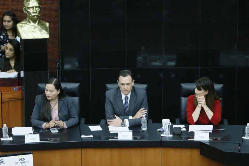 """El coordinador de los senadores del PAN, Mauricio Kuri González, durante su participación en el Seminario """"Situación y desafíos de los cuidados paliativos multidisciplinarios, en el marco de la reforma constitucional""""."""