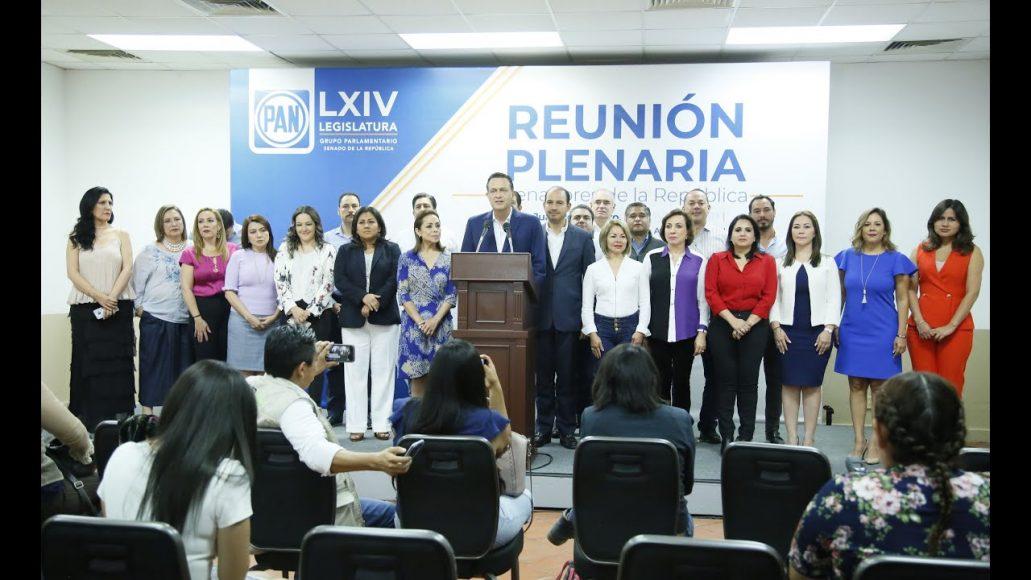 Conferencia de prensa concedida por las y los senadores del PAN, encabezados por el presidente del CEN, Marko Cortés y el Coordinador, Mauricio Kuri González