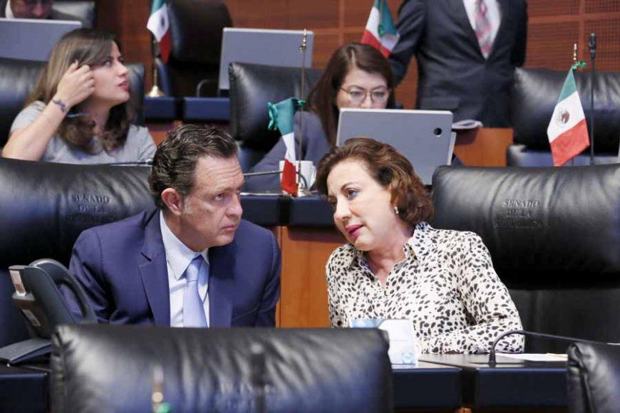 Senadoras y senadores del PAN durante los trabajos de la sesión ordinaria.