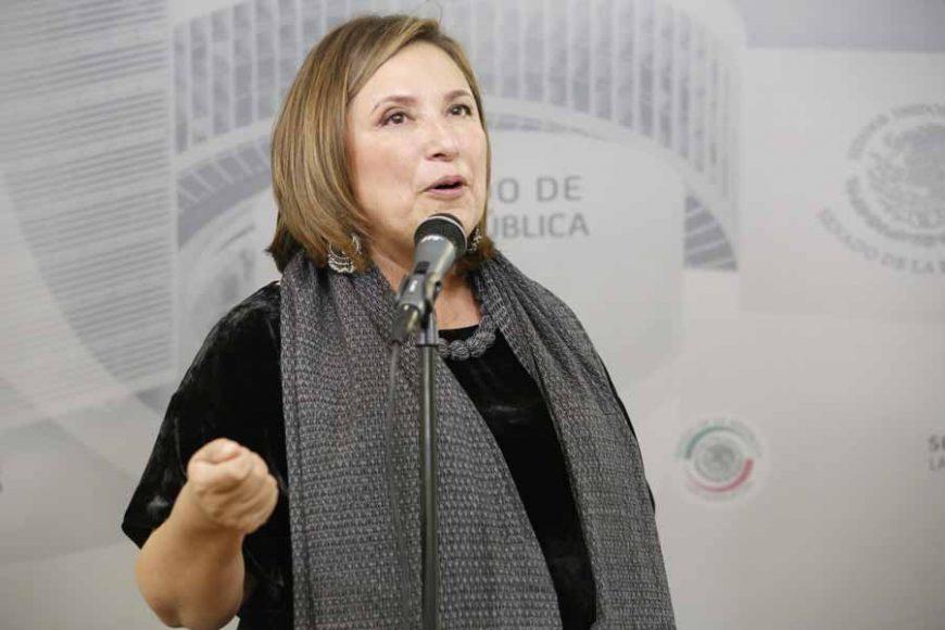 Conferencia de prensa de la senadora Xóchitl Gálvez Ruiz, durante la sesión ordinaria.