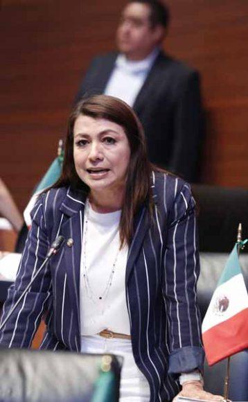 Intervención de la senadora Guadalupe Saldaña Cisneros desde su escaño.