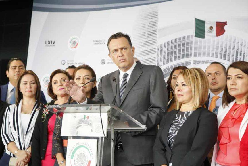Conferencia de prensa ofrecida por las senadoras Josefina Vázquez Mota, Guadalupe Saldaña Cisneros, María Guadalupe Murguía Gutiérrez y Minerva Hernández Ramos, para fijar la posición del grupo sobre las leyes secundarias de la Reforma Educativa.