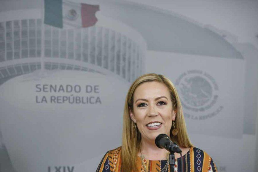 Conferencia de prensa ofrecida por la senadora Alejandra Reynoso Sánchez, durante la sesión ordinaria